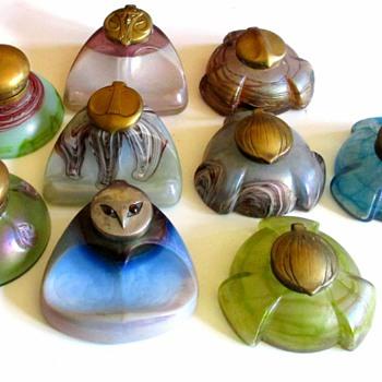 PALLME KONIG/ELIZABETHHUTTE/TEPLICE INKWELLS - Art Glass