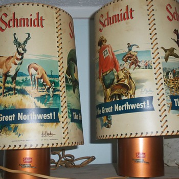 Set of vintage motion SCHMIDT beer lamps LES KOUBA , very cool! - Breweriana
