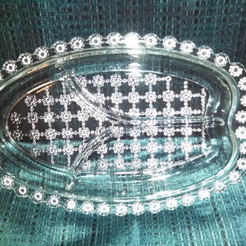 "Hazel Atlas ""Jewel""  3-part pressed glass Relish tray - Glassware"