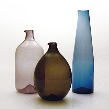 Jugs from the i-lasi series, Timo Sarpaneva (1950s, Iittala)