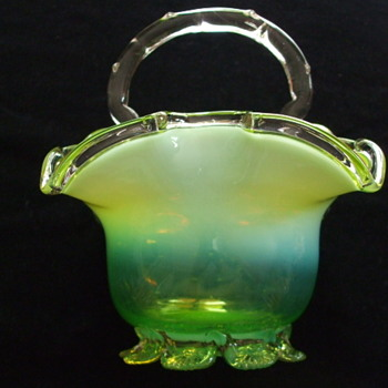Opalescent Lime Green Bohemian? Basket with fancy Crimped Base