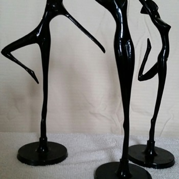 Very Rare Set Brass Sculpture/Statue Dancing Nude Woman~Mid Century Modern Art~