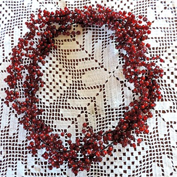 cranberry glass beads wired - Art Glass