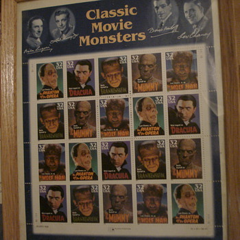 """Classic Movie Monsters"" uncut sheet of stamps - Stamps"