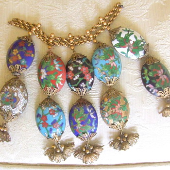 "Cloisonne Hollow, Oval Beads, each about 1.5"" long."