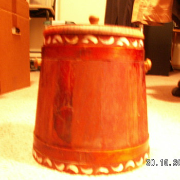 Primitive Tall Firkin/Apple Bucket - Folk Art