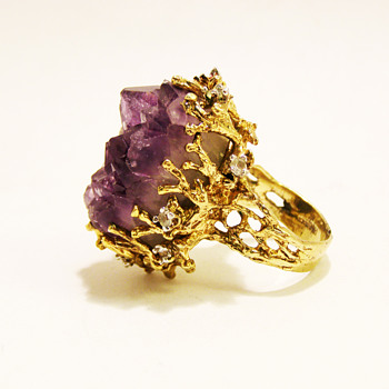 Vintage Panetta Extra Large Raw Amethyst Brutalist Ring - Costume Jewelry