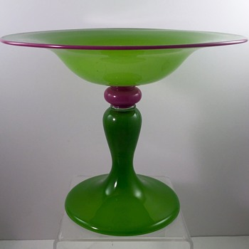 Tango glass compote in an unusual color combo, ca. 1920s