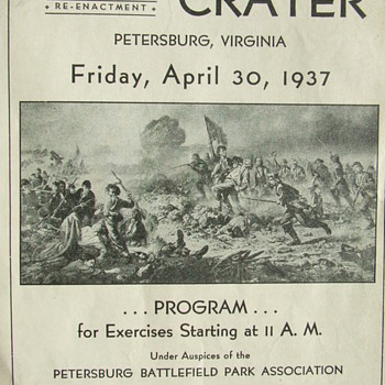 1937 Program for a Re-Enactment of the Civil War &quot;Battle of the Crater&quot; - Military and Wartime