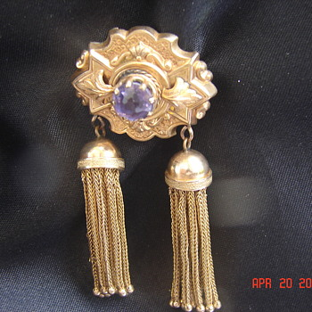 Old Victorian Gold Pin Brooch Pendant With Gold Tassels