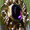 Purple Stone and Gold Filigree Pin
