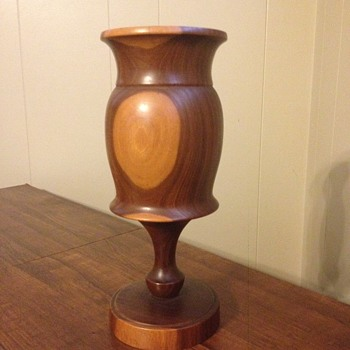 Wood Carved Vase with Pedestal - Folk Art