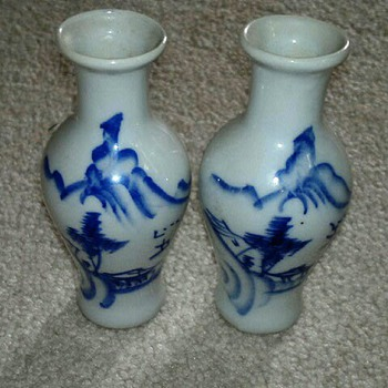Asian Blue & White Miniature Vases  - Asian