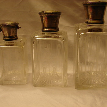 Silver Top Scent Bottles Unknown Hallmark - Bottles