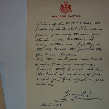 WW1  LETTER FROM KING GEORGE V. - Military and Wartime