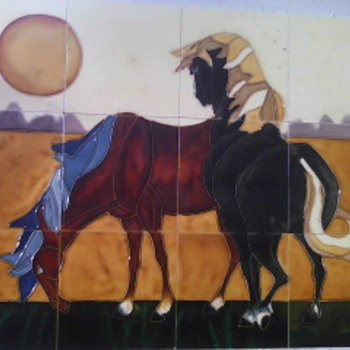 Framed Art Tile Mural Of Horses - Art Pottery