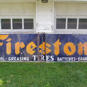1940s Firestone Porcelain Sign - Petroliana