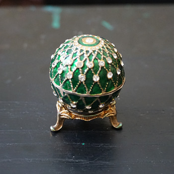 Green Enamel & Rhinestone Egg Trinket Box