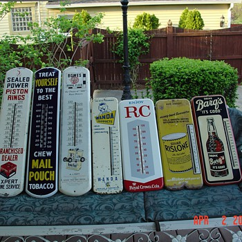 "Seven Old Thermometers...from ""1937"" to ""1960's"" - Advertising"