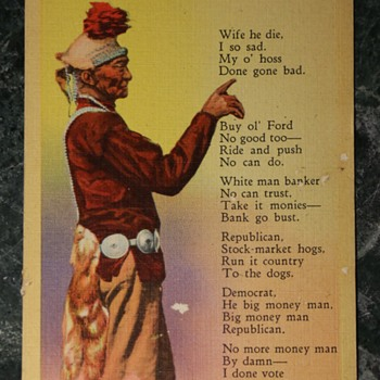 Kind of Racist Postcard about Native American Man