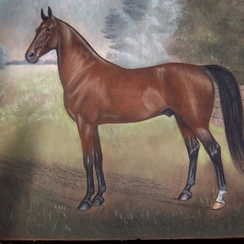 "Antique Pastel Art Piece by Dan W Smith ""Doctor R"" race horse"