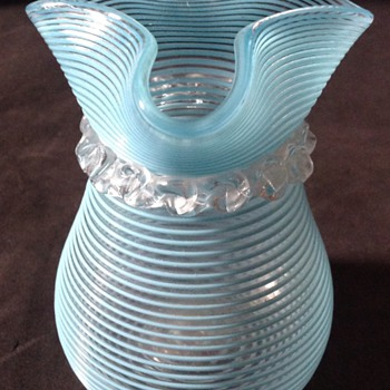 Victorian blue threaded hyacinth vase. - Art Glass