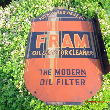 Fram Oil Filter Metal 2 sided sign - Petroliana