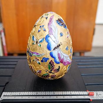 Cloisonne Enamel Butterfly on Metal Egg