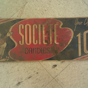 1920s Societe Candies poster sign ad. cardboard  - Signs