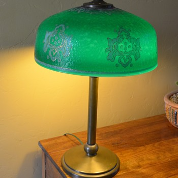 Green Glass Shade with Brass Base