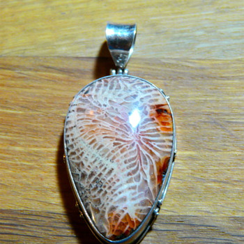 Strange stone and silver pendant - Costume Jewelry
