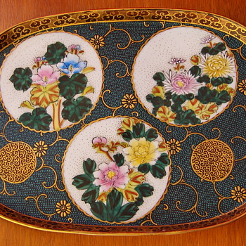 Antique Moriage Enamel Kutani Ceramic Japanese Tray