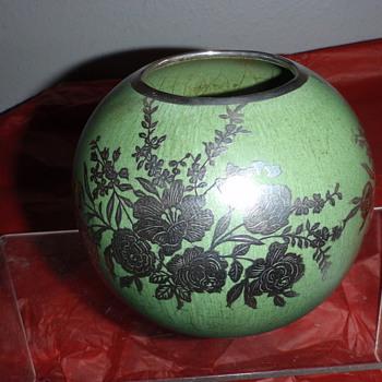 Frankoma Silver Overlay Vase - Art Pottery