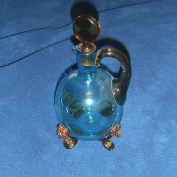 Blue glass with applied amber lion heads - Art Glass