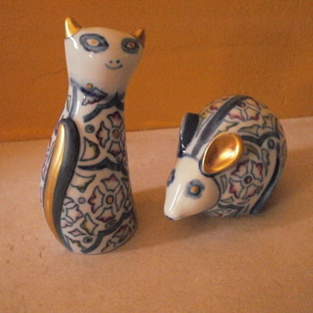 italian mouse and cat figurines - Art Pottery