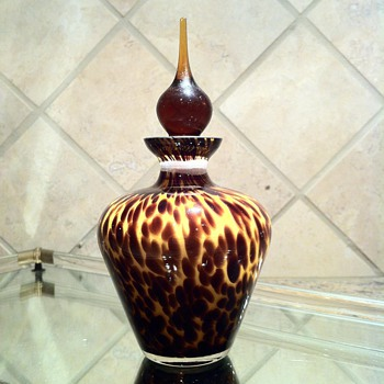 Murano Leopard Perfume Bottle & vintage dresser tray - Art Glass