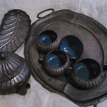metal Chinese tea service set - Asian