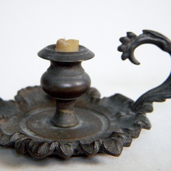 Small Bronze Candleholder, Old w/ incredible detail, Vienna Bronze? - Art Nouveau