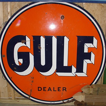 Gulf Double Sided Porcelain Sign...Dealer 1956...Three Colors