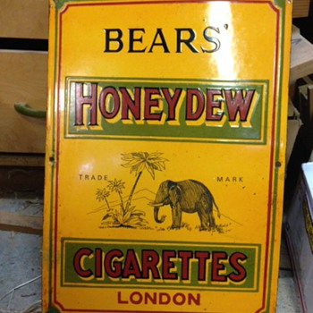 Bear's Cigarettes London Porcelain Sign - Tobacciana