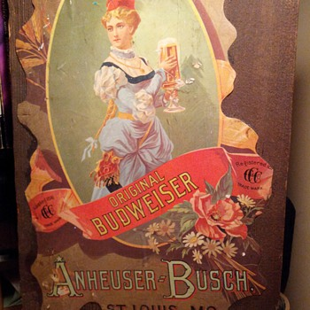 First Lady Budweiser Wooden Sign  - Breweriana
