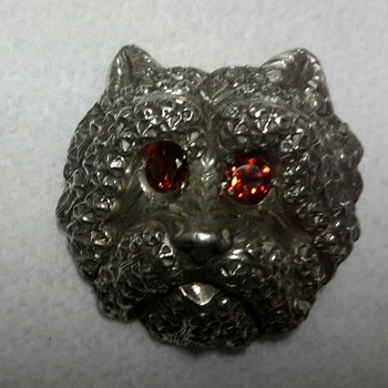 Silver Dog Face Brooch