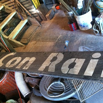 Wooden Conrail sign - Railroadiana