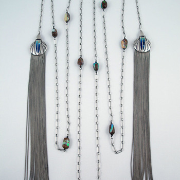 Theodor Fahrner Silver, Opal and Enamel Tassel Necklace
