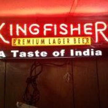 kingfisher lager beer neon sign - Breweriana