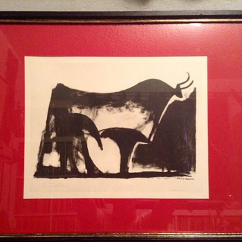 "Vintage Signed Picasso Lithograph ""Le Taureau Noir"" (The Black Bull) - Visual Art"