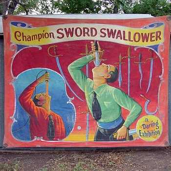 Vintage Side Show Banner of Swordswallower - Posters and Prints