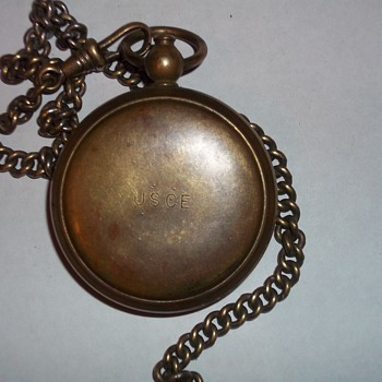 POCKET COMPASS AND CHAIN - Military and Wartime