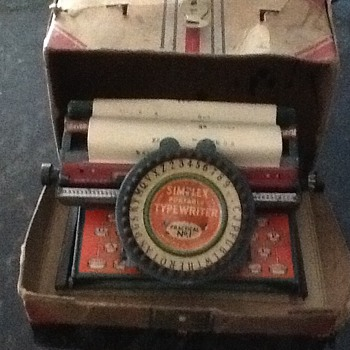 Simplex Portable Childs Typewriter No. 1 - Toys
