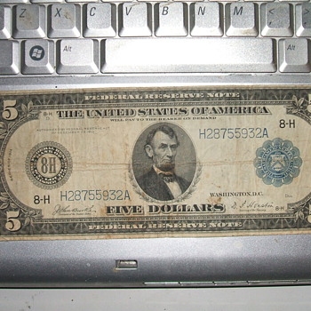 Horse Blanket Five Dollar Bill - US Paper Money